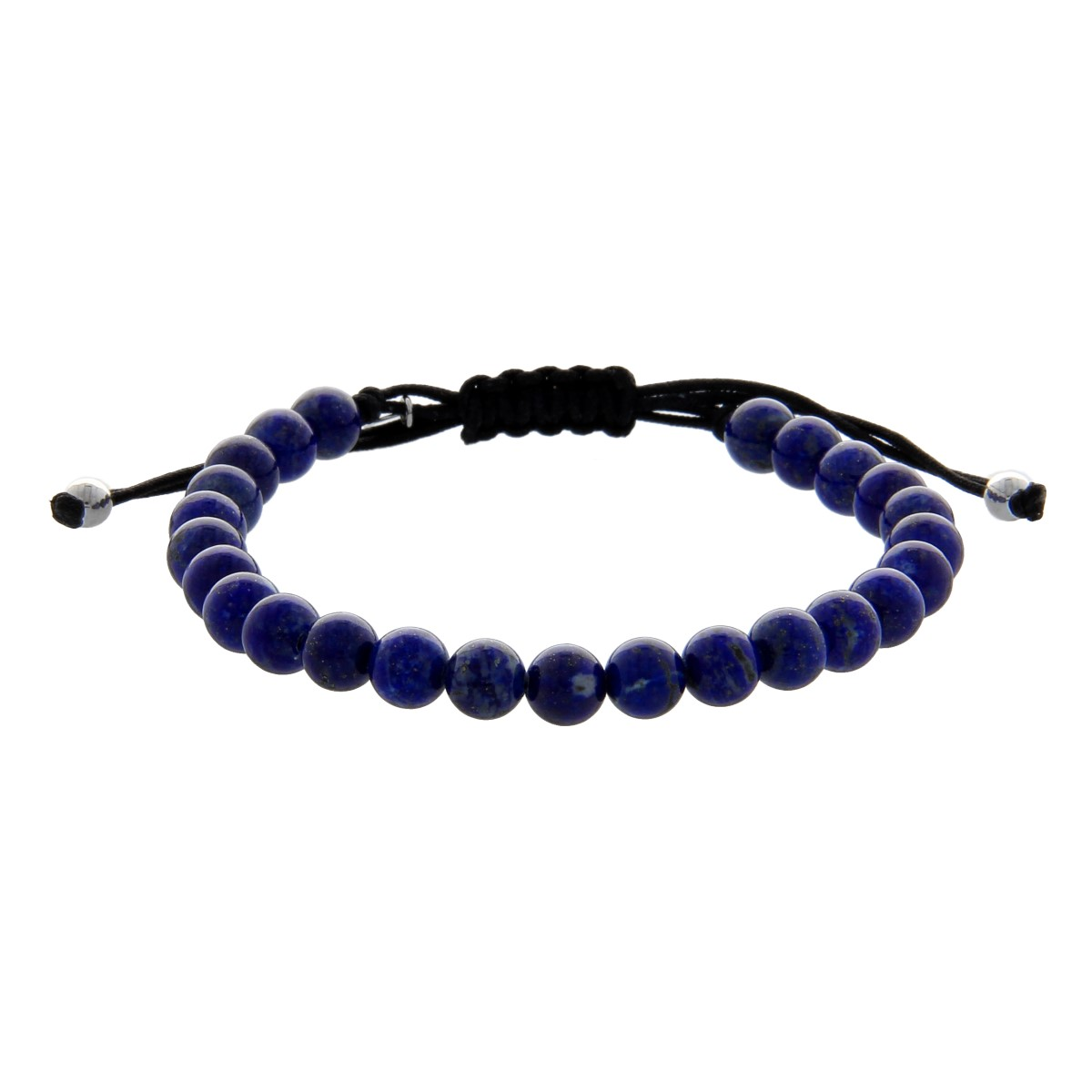 Black String Bracelet with Lapis Lazuli Pearls
