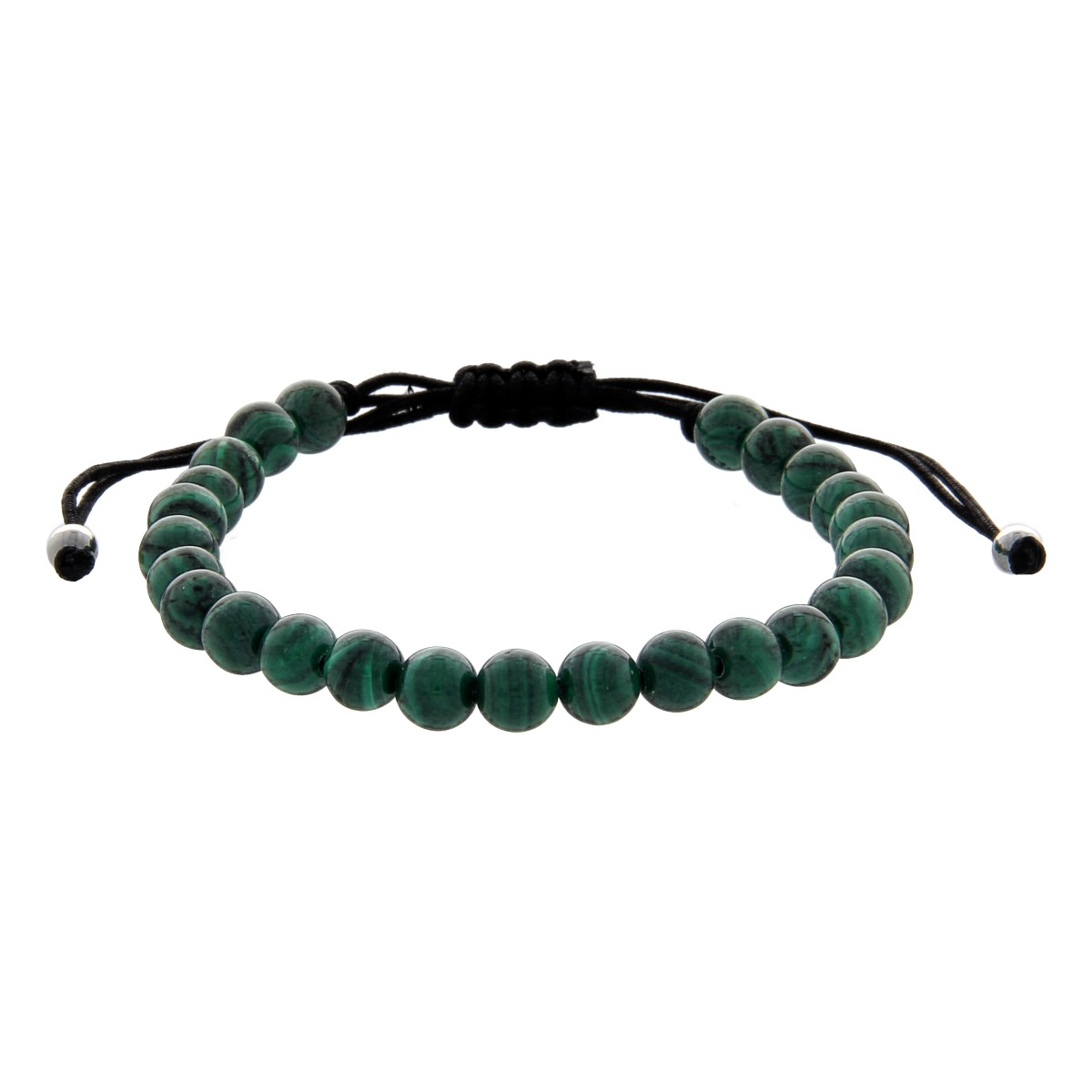 Black String Luxury Bracelet with Malachite Pearls