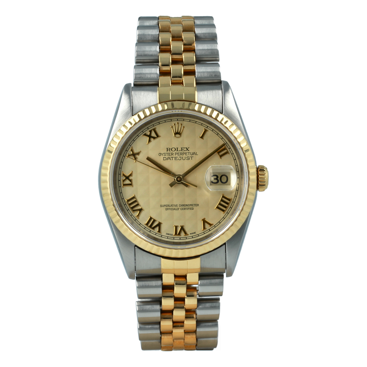 Rolex Datejust 16233 36mm Pyramid Dial Steel and Yellow Gold | Buy pre-owned Rolex watch
