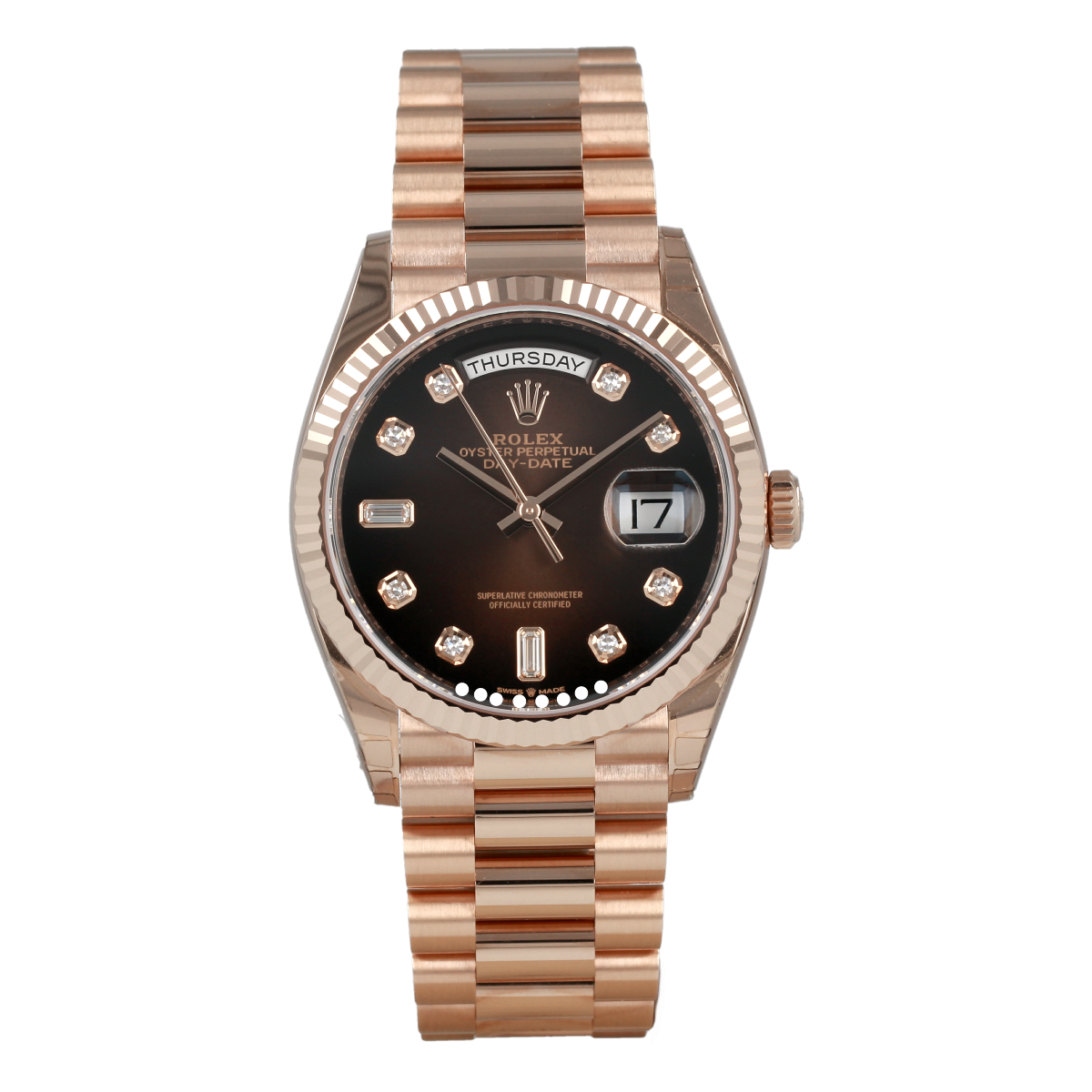 Rolex Day-Date 128235 36mm Everose Gold Brown Diamond-Set Dial | Buy pre-owned Rolex watch