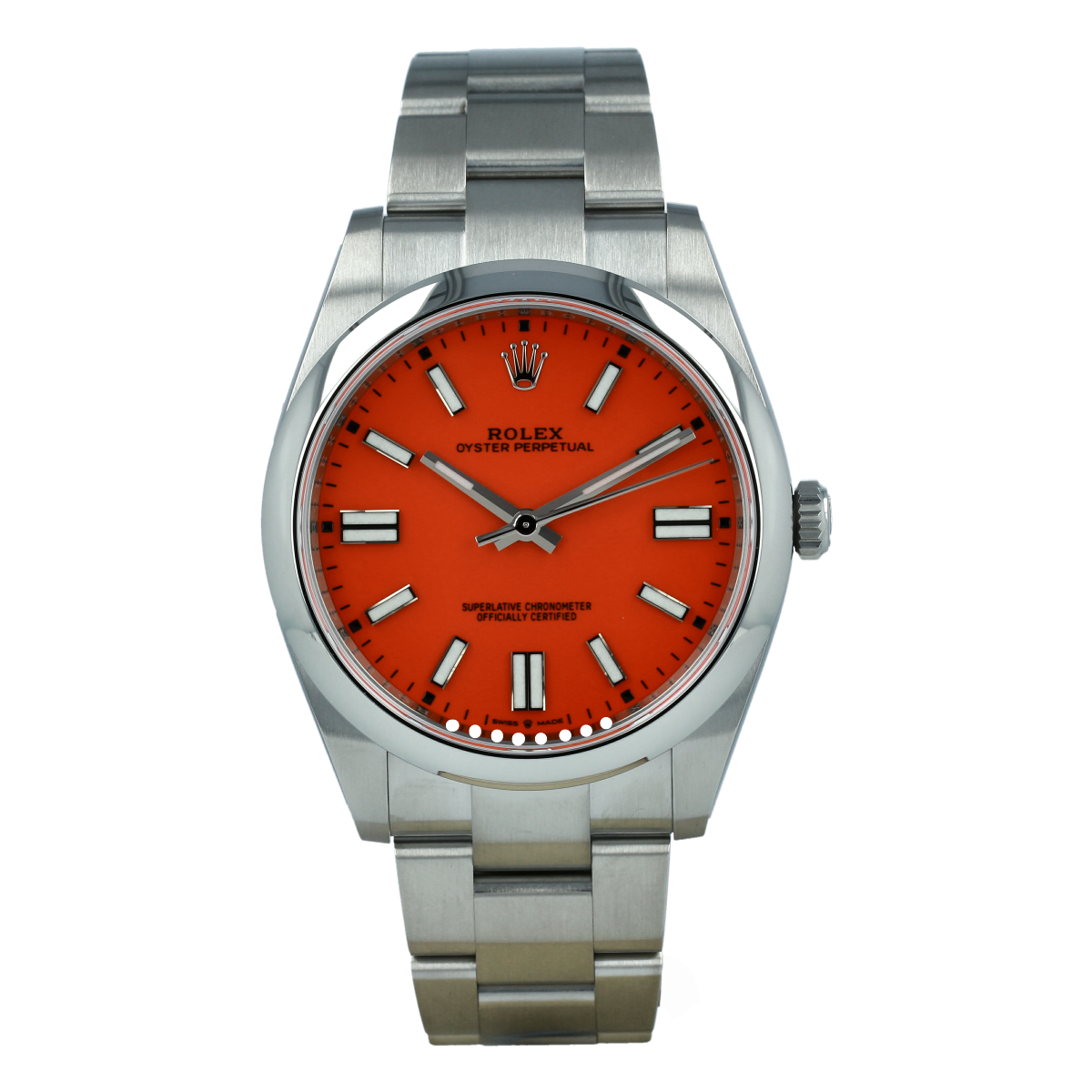 Rolex Oyster Perpetual 124300 41mm Coral Red Dial *New Model* | Buy pre-owned Rolex watch