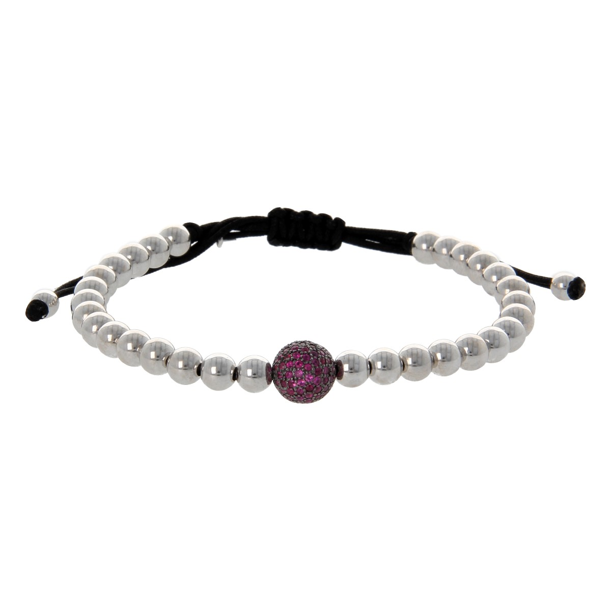 Black String Luxury Bracelet with White Gold Pearls and Rubies
