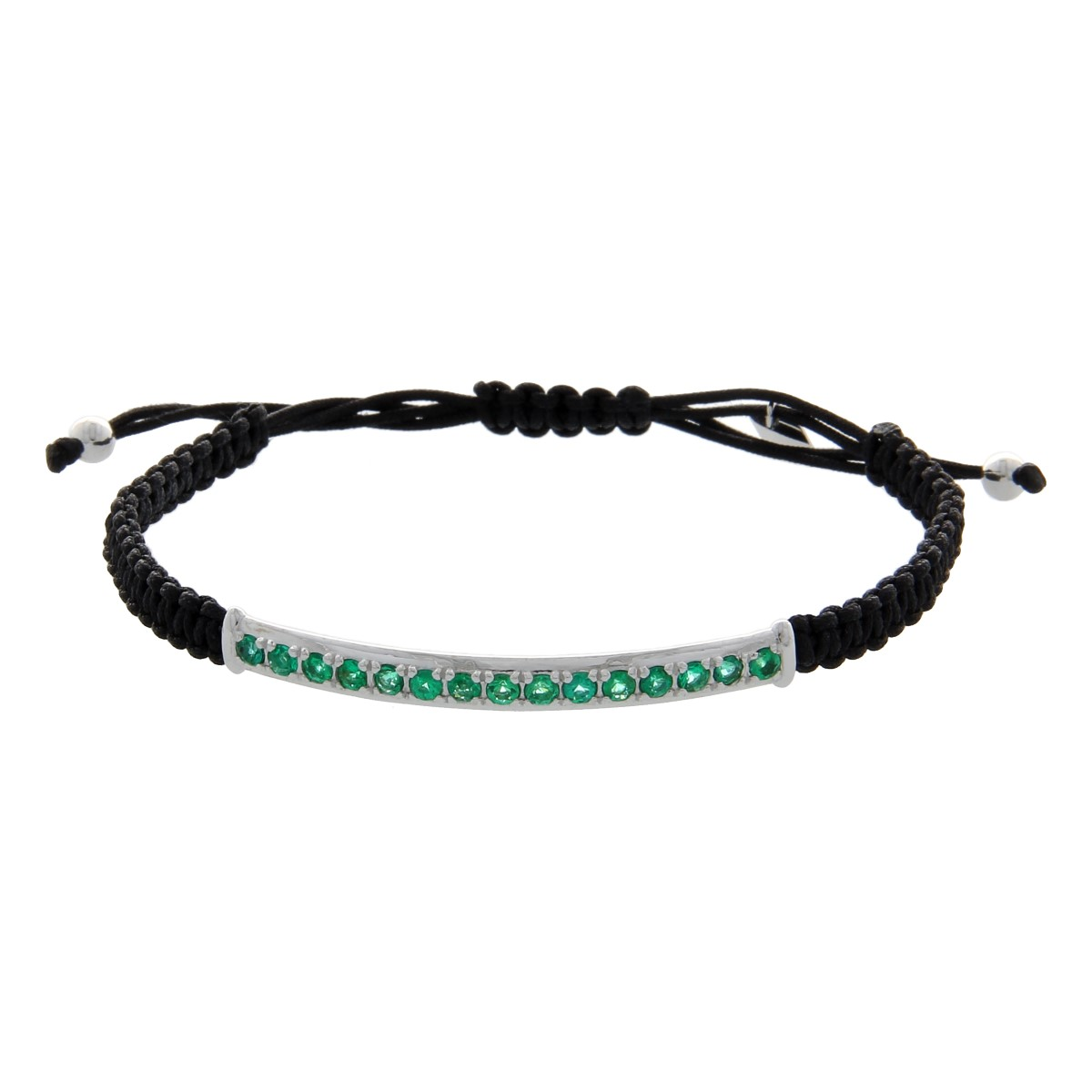 Black String Macrame Luxury Bracelet with White Gold and Emeralds
