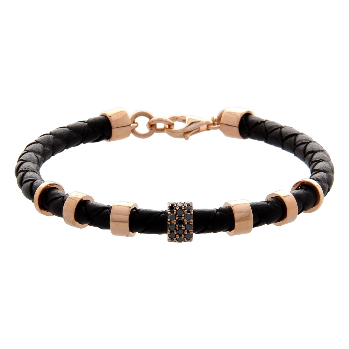 Black Braided Leather Luxury Bracelet with Rose Gold Donut and Black Diamonds
